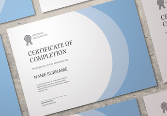 Certificate Layout with Blue Accents