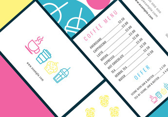 Stationery Layout Set with Food Icons