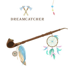 Pipe of peace with dreamcatcher, feathers and amulet digital clip art. Ceremonial Native American pipe. Color set. Two Axe. Boho Style on white background