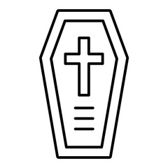 Coffin thin line icon. Halloween coffin with cross vector illustration isolated on white. Death outline style design, designed for web and app. Eps 10.