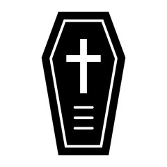 Coffin solid icon. Halloween coffin with cross vector illustration isolated on white. Death glyph style design, designed for web and app. Eps 10.