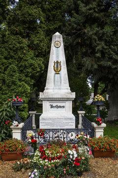 Graves of Ludwig von Beethoven, Zentralfriedhof, Vienna Central Cemetery, Vienna, Austria.