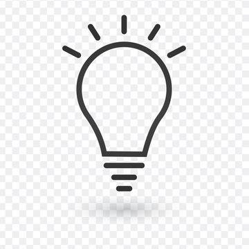 Idea icon, light bulb with rays, linear vector simple trendy icon, editable stroke.