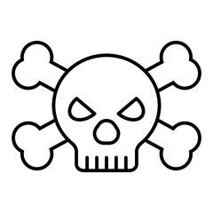 Skull and bones thin line icon. Danger vector illustration isolated on white. Skeleton on a stick outline style design, designed for web and app. Eps 10.