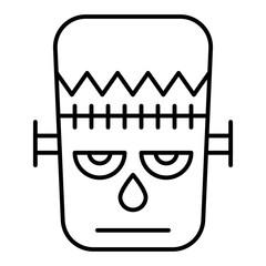 Frankenstein thin line icon. Monster vector illustration isolated on white. Mask outline style design, designed for web and app. Eps 10.