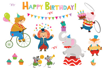 Cute Birthday Circus Characters