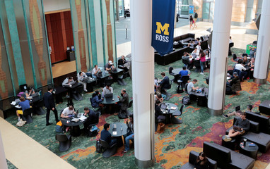 University of Michigan students are seen in the Stephen M. Ross School of Business in Ann Arbor