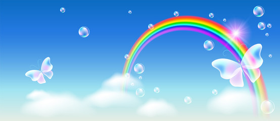 Rainbow with magic butterfly in the sky and bubbles