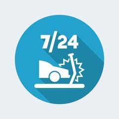 Car crash assistance 7/24 - Vector flat icon