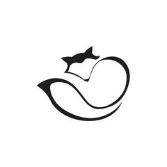 Fox stylized line art design vector. Clean style icon logo illustration.