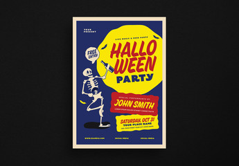 Skeleton Halloween Party Event Flyer Layout