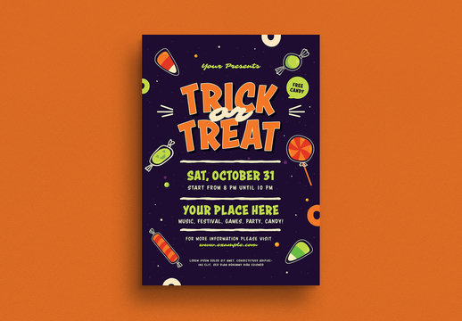 Halloween Trick or Treat Flyer Layout