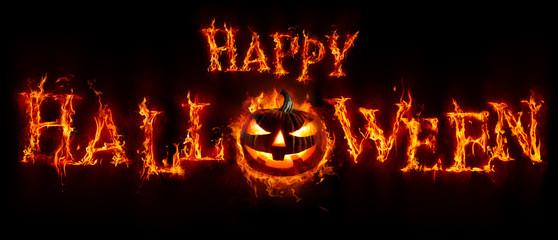 Happy Halloween - Pumpkin In Flamed Text Banner