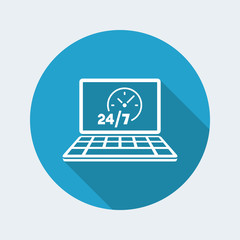 24/7  ful time web services - Vector flat icon