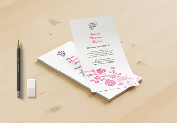 Photo Booth Place Card Layout with Pink Floral Elements