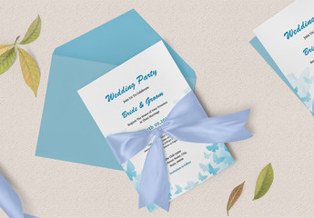 Wedding Invitation Card Layout with Blue Butterfly Elements