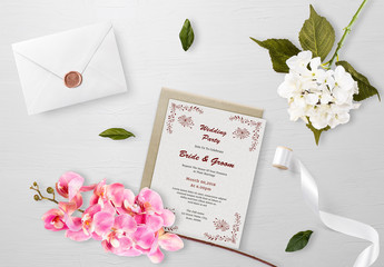 Wedding Invitation Card Layout with Outlined Flower Elements