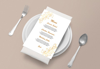 Wedding Menu Card Layout with Gold Gradient Elements