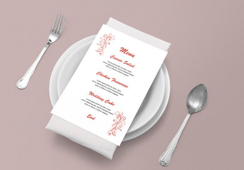 Wedding Menu Card Layout Orange Elements