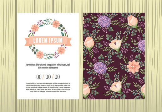 Invitation Layout with Floral Decorations