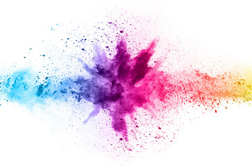 Photo sur Plexiglas Forme abstract powder splatted background. Colorful powder explosion on white background. Colored cloud. Colorful dust explode. Paint Holi.