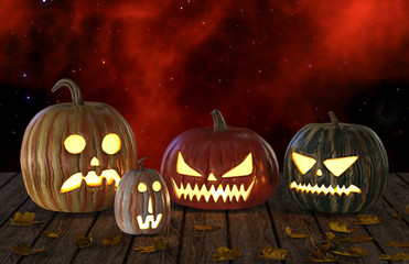 Halloween Pumpkins Jack O Lantern Holiday 3D Illustration