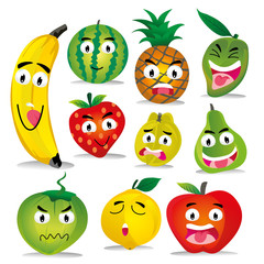 fruit character emoticon - expression emotion, vector eps 10