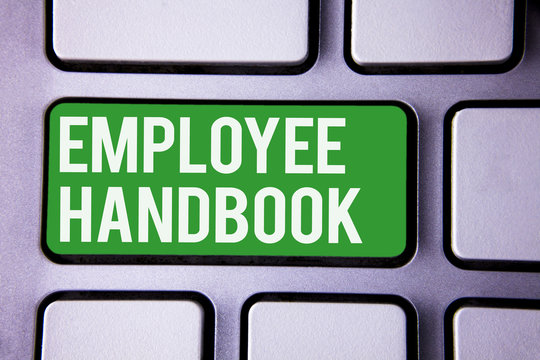 Handwriting text writing Employee Handbook. Concept meaning Document Manual Regulations Rules Guidebook Policy Code White Text two words green tab key button press computer keyboard work