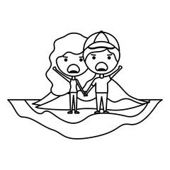 cartoon furious couple on field kawaii characters