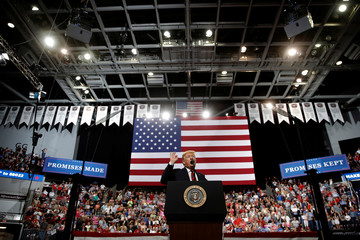 U.S. President Donald Trump speaks during a campaign rally in Springfield