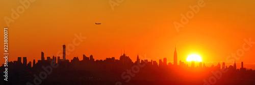 Fototapete New York City sunrise silhouette