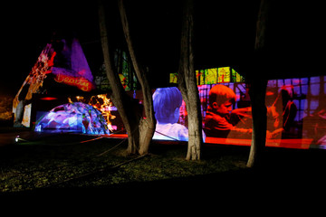 An installation is displayed during the Lumina Light Festival in Cascais