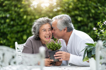 Portrait of Asian Senior man kissing his wife.