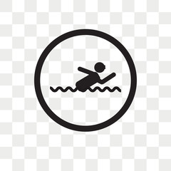 Swimming vector icon isolated on transparent background, Swimming logo design