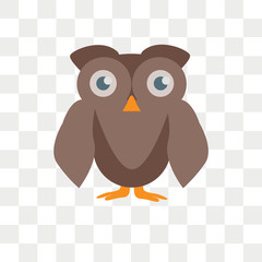 Owl vector icon isolated on transparent background, Owl logo design