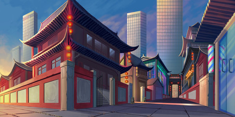 China Luoyang Street Realistic Country City Area Painting Series. Video Game's Digital CG Artwork, Concept Illustration, Realistic Cartoon Style Scene Design