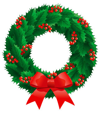 Christmas holly wreath. Vector christmas decoration - holly wreath with berries, isolated on white background.