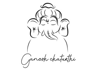 Indian Religious Festival Ganesh Chaturthi Template Design Ganesha beautiful calligraphy, hand-drawn