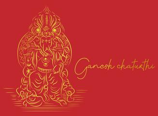 Indian Religious Festival Ganesh Chaturthi Template Design Ganesha beautiful calligraphy, hand-drawn