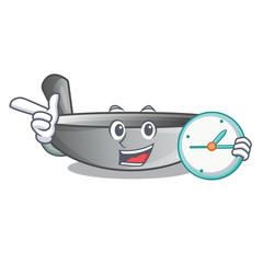 With clock wok frying pan utensil kitchenware cartoon