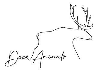 continuous line drawing of deer wildlife vector illustration