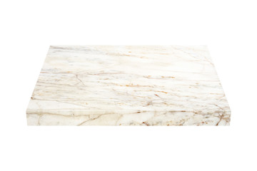 nature marble block on white background with clipping path