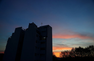An apartment building is pictured at sunset in Buenos Aires