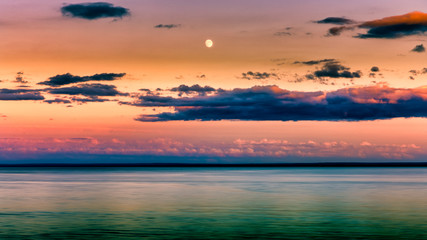 Beautiful Sunset Clouds over horizon of Lake Superior