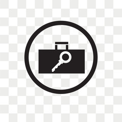 Secure Briefcase vector icon isolated on transparent background, Secure Briefcase logo design