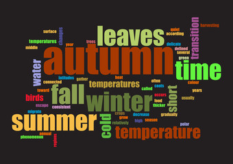 Autumn. Collage of words on black background Vector illustration