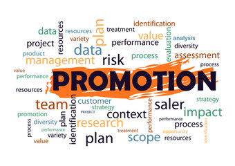 Promotion Collage of words Vector illustration