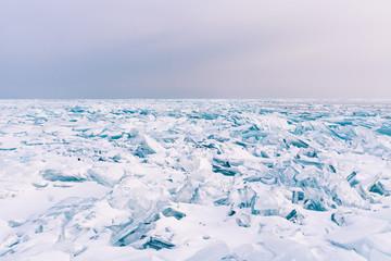 Crack surface water lake freeze winter season Baikal Russia winter season natural landscape background