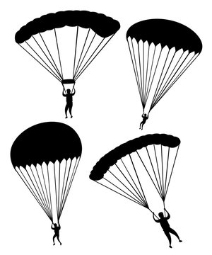 Black silhouette. Parachutist in flight. Set of skydivers. Flat vector illustration isolated on white background