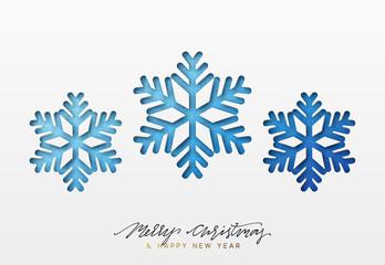 Christmas background, design blue snowflakes texture paper.